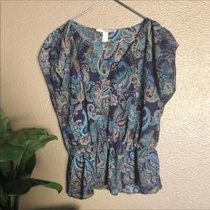 Forever 21 Peacock Color Paisley Print Blouse